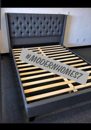 Grey tufted full bed frame $170 queen $185 for Sale in La Palma, CA