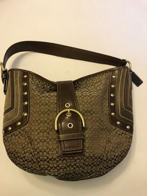 Classic Coach small print logo hobo. Gold studs and buckle accent. Leather buckle and suede accents. for Sale in Pataskala, OH