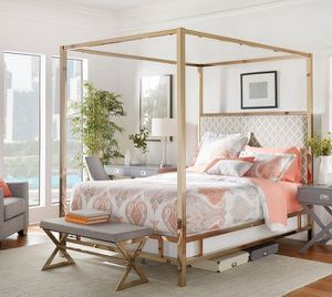 Champagne Gold Queen Canopy Bed by Inspire Q for Sale in Nashville, TN