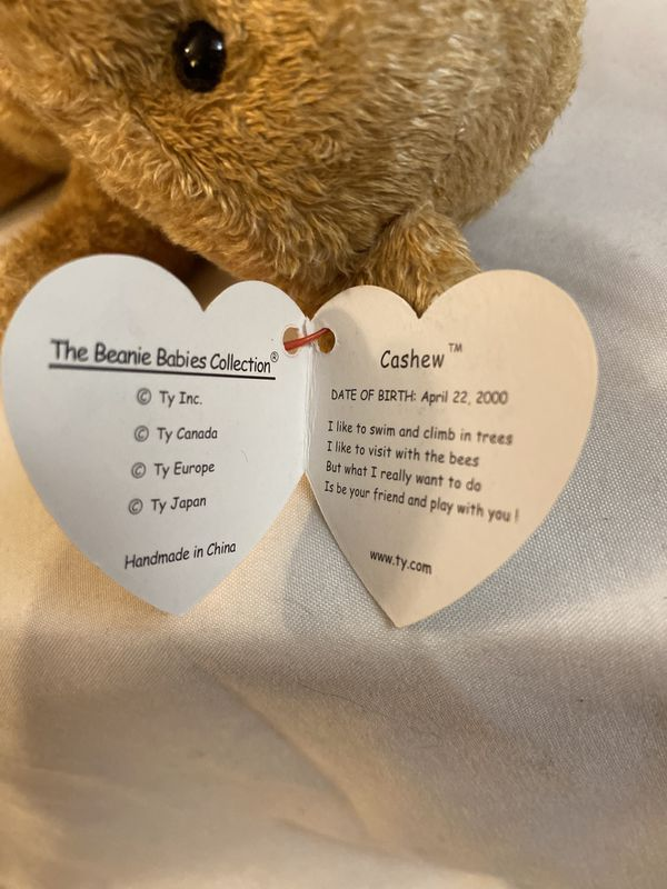 Ty Beanie Baby Cashew Bear