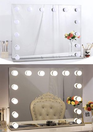 "New, $220 Vanity Mirror w/ 14 Dimmable LED Light Bulbs, Hollywood Beauty Makeup Power Outlet 32x26"" for Sale in Whittier, CA"