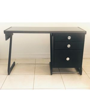 Black Office Desk with Silver Hardware + Three Drawer Cabinets for Sale in Miami, FL
