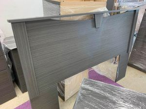 $499 5 DARK GREY PIECES QUEEN OR FULL BEDROOM SET BEDROOM SET INCLUDED 1-HEADBOARD 1-8/DRAWER DRESSER 1-MIRROR AND 2 -3 DRAWER NIGHT STAND MATTR for Sale in Chino, CA