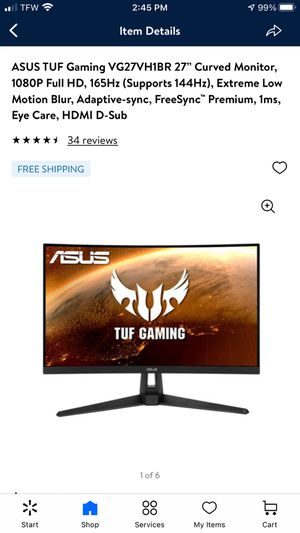 Asus TUF 27' curved monitor for Sale in Lenoir City, TN
