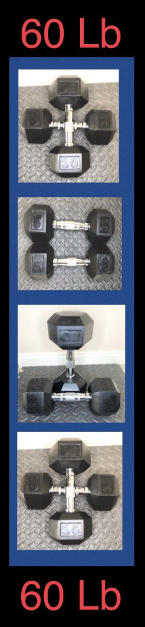 (2) 30LB CAP Rubber Hex Dumbbell pair ( 60lb total ) for Sale in Moreno Valley, CA