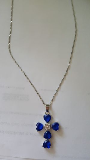 18k white gold pl cross necklace stamped for Sale in Staten Island, NY