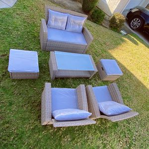 Brand New!Assembled!Merax 6-Piece Patio Furniture Sets with Ottoman, Outdoor Garden Lawn Pool Rattan Sofa Wicker Conversation Set Coffee Table with We for Sale in Hacienda Heights, CA
