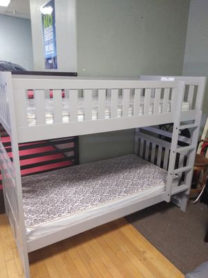 NEW Grey Twin size over Twin bunk bed frame with mattresses included for Sale in Glendale, AZ