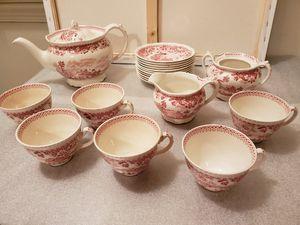 Seaforth enoch1784 ralph1750 woods burslem england red/pink tea set for Sale in Falls Church, VA