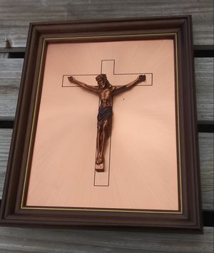 "Vintage Brass Crucifix on Copper Plate Plaque in Wooden Frame 16"" x 13"" **10.00 Firm** for Sale in Orlando, FL"