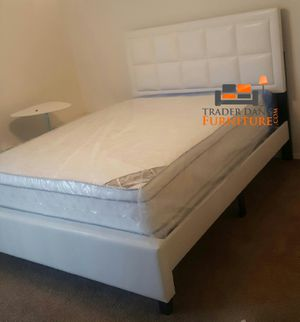 Brand New Queen Size Leather Platform Bed + Pillowtop Mattress for Sale in Silver Spring, MD