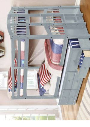 🏖🌐Menlo Gray Twin Over Twin Bunk Bed with Storage Drawers and Twin Trundle for Sale in Houston, TX