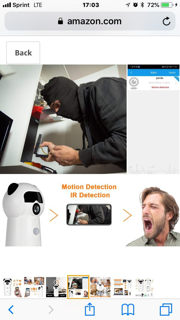 Mini Panda 1080P WiFi Camera Wireless IP Security System Night Vision, Infrared Detection, Call Feature, Two-Way Audio, Cloud Storage Home Surveillan