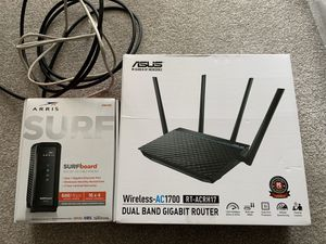 Arris modem nd asus router for Sale in Plano, TX