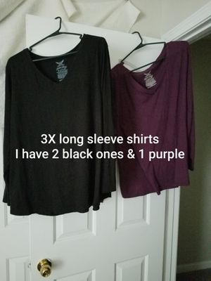3 shirts (2 black 3x & 1 purple 3x) long sleeve all 3 for $5 for Sale in Murfreesboro, TN