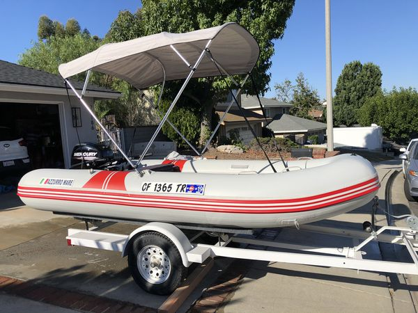 2015 20 horse mercury outboard motor on 12 foot Azzurro Mare inflatable boat.