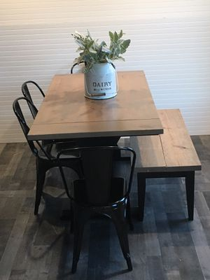 Farmhouse kitchen table, chairs, and bench for Sale in Hilliard, OH