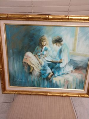 Original oil painting nice gold frame Vanguard for Sale in Hialeah, FL