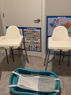 High chairs with tray and Baby Tub for Sale in Renton,  WA