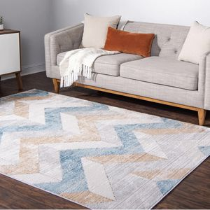 Blue Light Brown Grey Modern Abstract Rug for Sale in Springfield, VA