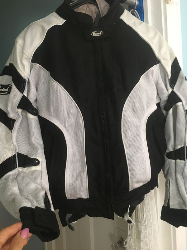 Cortech women's black and white motorcycle jacket