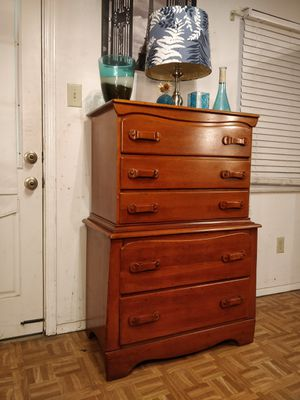 """Solid wood chest dresser with big drawers in good condition all drawers working, dovetail drawers driveway pickup. L34""""*W19""""*H50"""" for Sale in West Springfield, VA"""