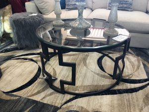 Bronze metal finish glass top 3 piece coffee table set for Sale in Coppell, TX