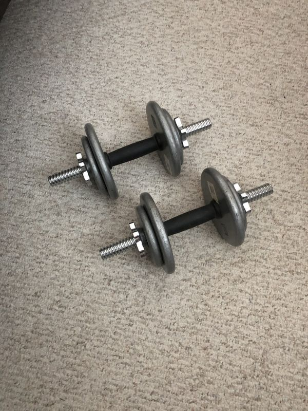 Dumbbell Set, up to 15 bs each.