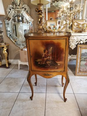 Antique furniture cabinet hand painted and bronze details for Sale in Miami, FL