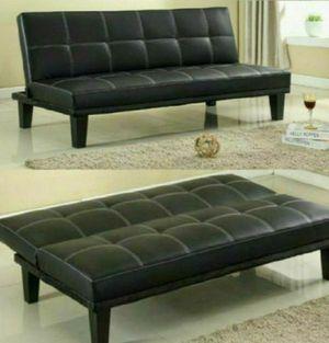 Black Leather Futon Sofa for Sale in Marietta, GA