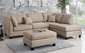 "Sand sectional sofa ottoman included reversible chaise 104""x75"" for Sale in Long Beach, CA"