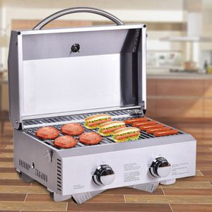 New 2 Burner Portable Stainless Steel BBQ Table Top Grill for Outdoors for Sale in Rockland, MA