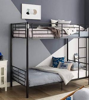 New!! Bed, twin bed, twin bunk bed, twin over twin bunk bed, metal twin bunk bed, bedroom furniture , black for Sale in Phoenix, AZ