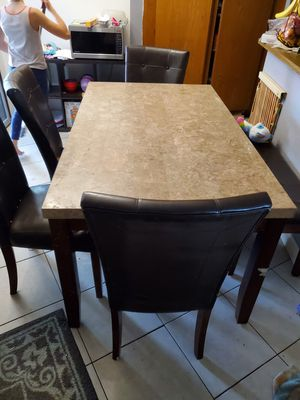 Dining room table. Granite top 4 chairs with bench for Sale in Oceanside, CA