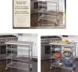 Seville Classics Stainless Steel Kitchen Cart for Sale in Stafford,  TX