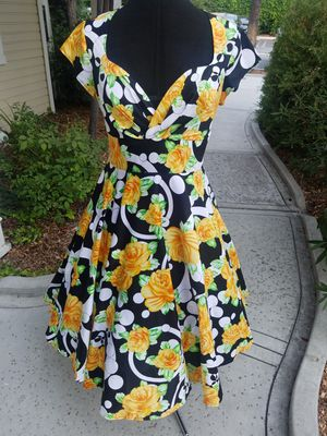 Pin Up Inspired Yellow Floral Swing Dress for Sale in West Covina, CA
