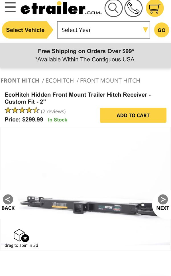 Front hitch receiver Dodge Ram (New)