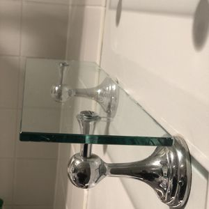Pair of Two Chrome Glass Shelves For Bathroom Or Closet for Sale in New York, NY