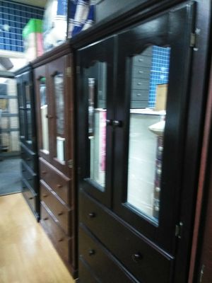 Tall pinewood wardrobe with mirror for Sale in Gardena, CA