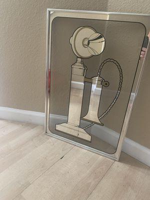 Vintage Telephone Framed Mirror Art for Sale in Covington, WA