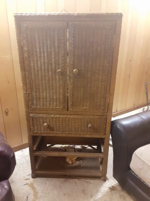 Wicker entertainment center & Chester Drawers for Sale in Mesa, AZ