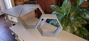 Two Gray Floating Hexagon Wall Decor Modern Shelf for Sale in Simpsonville, SC