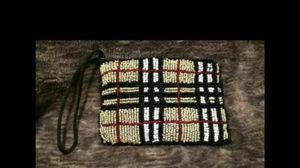 Brand New Beaded Coin Purse Style Wallet Black White Red And Gold Beads. Seed Bead Accents With Black Satin Lining for Sale in Gresham, OR