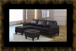 Black sectional with ottoman for Sale in Manassas, VA