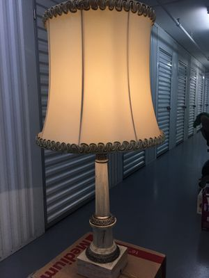 CUSTOM TALL MARBLE LAMP WITH HAND SEWN SHADE for Sale in Guadalupe, AZ