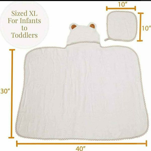 Hooded Baby Towel & Washcloth Set by Baby Totoy - Organic
