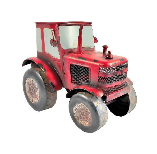 Two Decorative Large-Scale Metal Farm Tractors