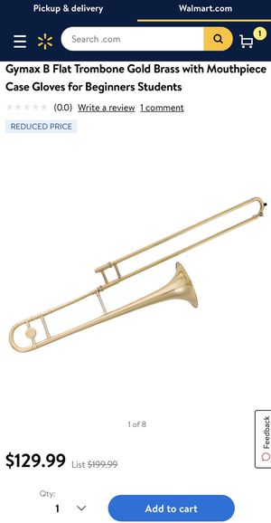 Gymax B Flat Trombone Gold Brass with Mouthpiece Case Gloves for Beginners Students for Sale in Norco, CA
