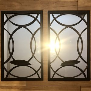 "16.5"" x 10"" Set of 2 Beautiful Unique Hanging Wall Mirror Decor w/ Candle Holders for Sale in Phoenix, AZ"