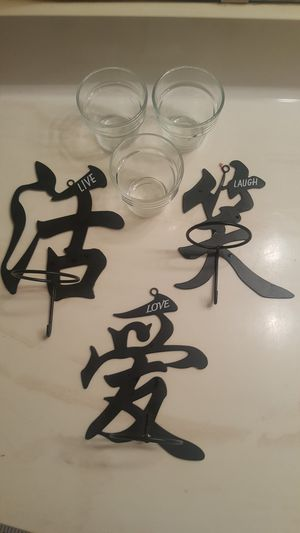Chinese character Candle Holder Hooks LIVE LAUGH LOVE for Sale in Houston, TX